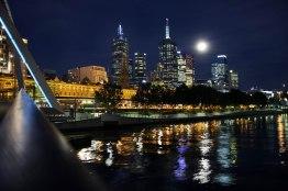 Australia, Victoria, Melbourne, moonlight downtown