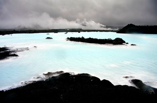 Iceland, Grindavik, Blue Lagoon (Blaa Ionith), lava field and sulphur and silica hot water