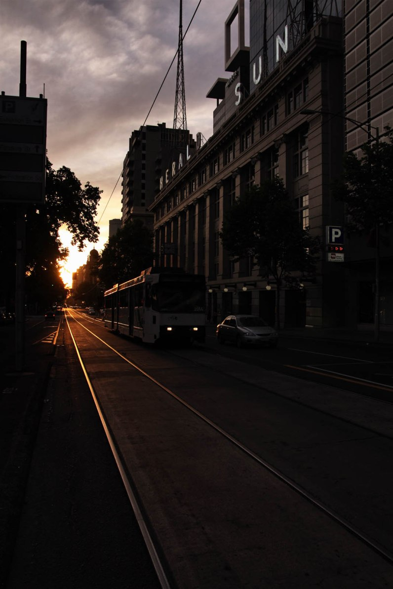 Australia, Victoria, Melbourne, tram rails in flinders street