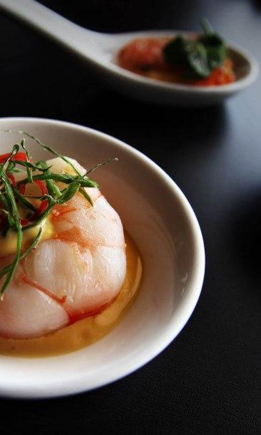 Singapore, Equinox restaurant, prawn starter
