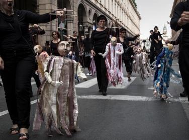 Italy, Turin, puppet parade