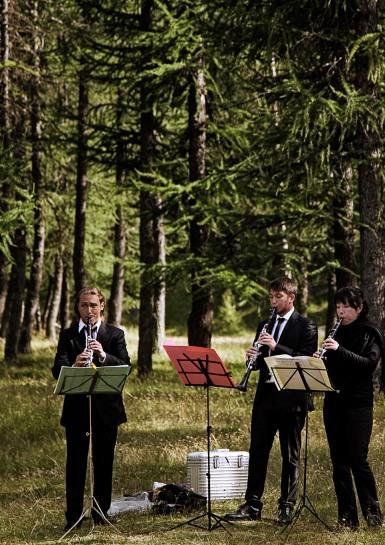Italy, Turin. Susa Valley, Argentera Valley, open air concert, Intl Ebony Trio, Hiramatsu, Goegan, Barbieri
