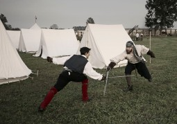 Italy, Turin, Staffarda Abbey, reenactment of the 1690 battle Sun King vs Vittorio Duke of Savoy