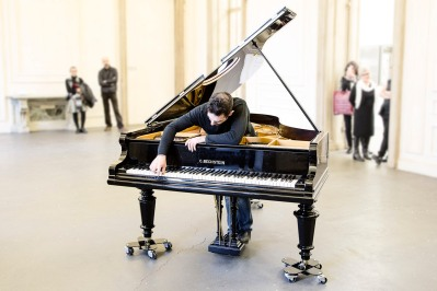 Italy, Piedmont, Rivoli Castle Contemporary Art Museum, Guillermo Calzadilla performance: Variations on Ode to Joy for a prepared piano