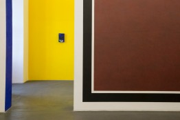 Italy, Piedmont, Rivoli Castle Contemporary Art Museum, Sol Lewitt, Panels and Tower with colours and scribbles