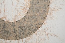 Italy, Piedmont, Rivoli Castle Contemporary Art Museum, Richard Long, Mud Circle detail