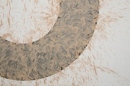 Italy, Piedmont, Rivoli Castle Contemporary Art Museum, Richard Long, Mud Circle detail