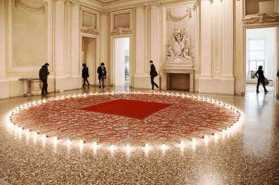Italy, Piedmont, Rivoli Castle Contemporary Art Museum, Mona Hatoum, Undercurrent red