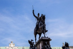 Italy, Piedmont, Turin, National Parliament House, King Carlo Alberto statue