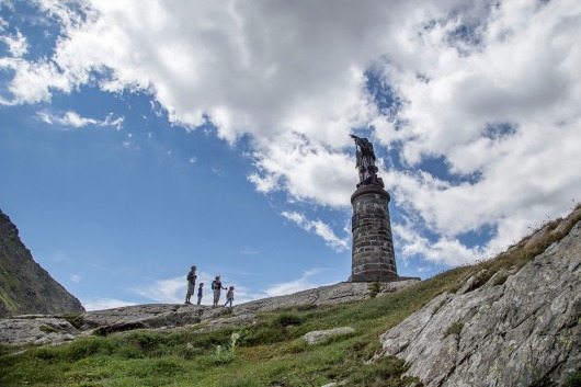 Italy, Aosta Valley, Great Saint Bernard Pass, Saint Bernard indicating the route
