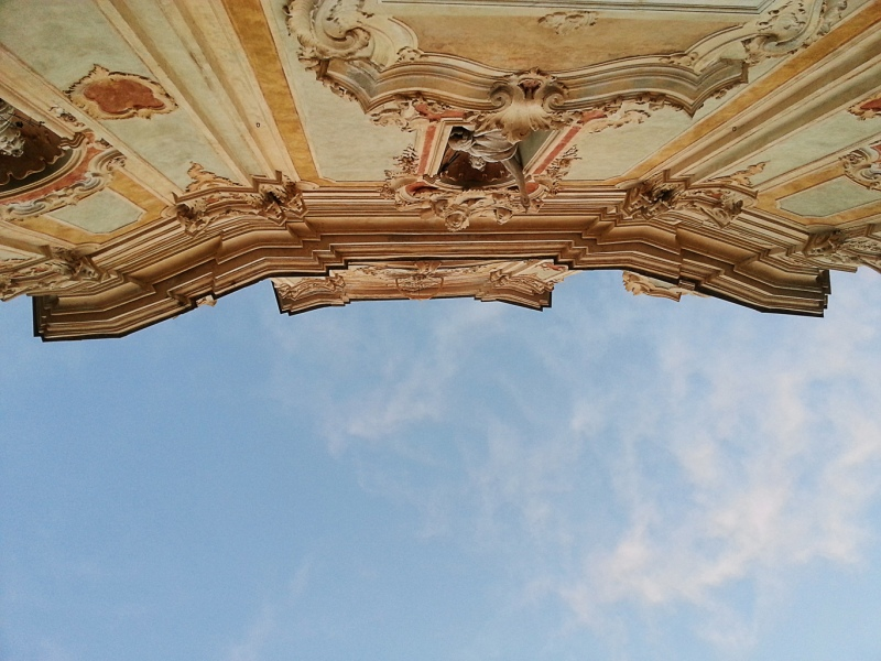 Italy, Liguria, Cervo-Imperia, Baroque and sky, Corallini Church Facade