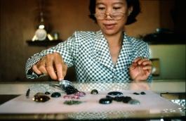 Cambodia, Bunlung, precious stones store, 2001