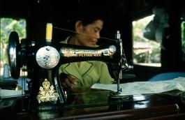 Cambodia, Kampong Thom, seamstress, 2001